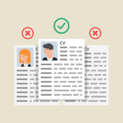 CV resumes, employees selection process. Vector illustration, fl