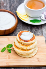 cheese pancake with soured cream