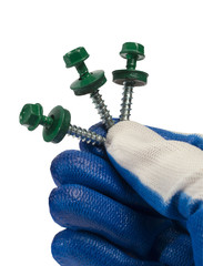 human hand in a glove holds a blue roof screws , wood screws