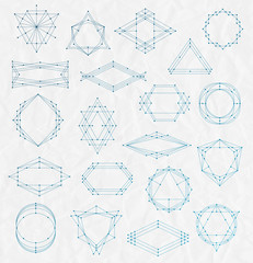 Set of Line art hipster frames on a creased paper background