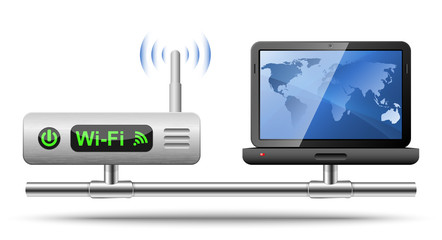 Icon of a laptop connected to a wireless router.  Vector Illustr