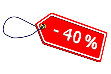 Discount forty percentages tag