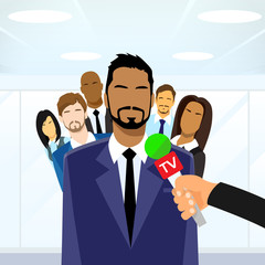 Businessmen Leader Give Interview Tv Microphone