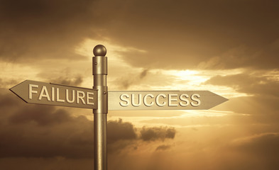 Success and Failure Concept with directions