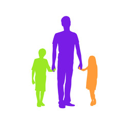 Family Silhouette Father with Two Kids Holding Hands