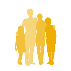 Family Silhouette, Full Length Couple with Two Kids Embracing