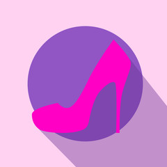 High Heel Woman Shoes Flat Pink Icon Vector
