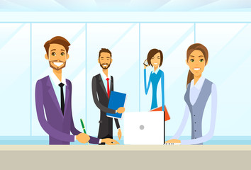 Business People Group Sitting at Office Desk Flat