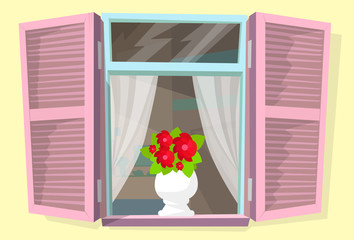 Window Shutters Flower Retro Blinds Isolated Vector