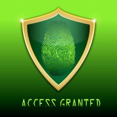 fingerprint on scanner access granted vector illustration