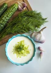 Famous Greek yoghurt sauce tzatziki with cucumbers, herbs and ga