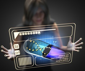 woman and hologram with micro capsule