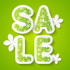 Spring sale message on green