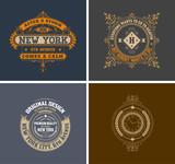 Retro cards. Business sign, identity for Restaurant, Royalty, Bo poster