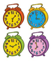 clock doodle in various color