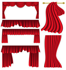 Set of red silk curtains