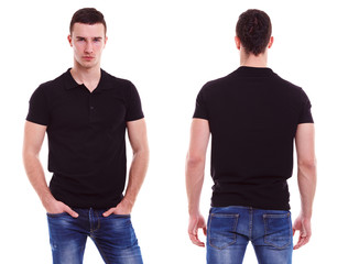 Young man with black polo shirt