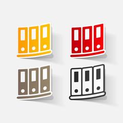 Paper clipped sticker: office folders