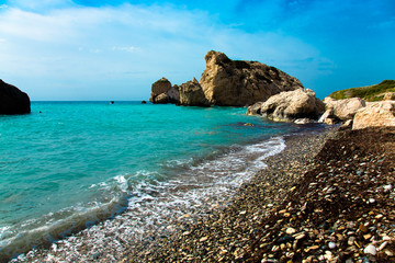 Pebble beach and blue sea in the Aphrodites birthplace. Paphos,