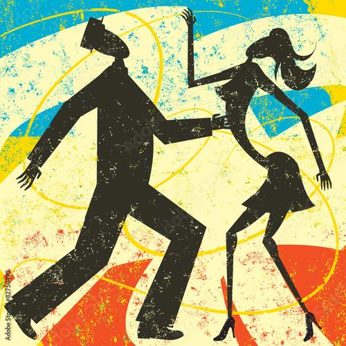 Obraz na Szkle Retro couple dancing