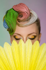 Beautiful woman with colorful hair