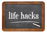 life hacks on balckboard