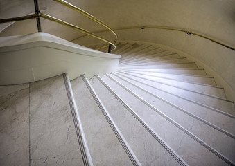 the turning marble stairs
