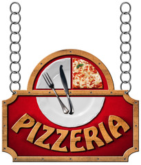 Pizzeria - Sign with Metal Chain