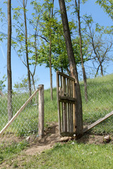 Old wooden fence in the village