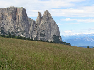Panoramic mountain view of the Dolomites. Alpe di Siusi Italy