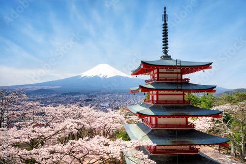 Foto op Plexiglas Japan Chureito Pagoda in Fujiyoshida Japan