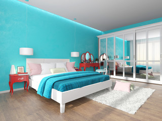 turquoise bedroom with dressing table and wardrobe