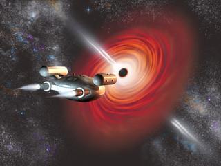 Nave espacial viajando hacia un agujero negro