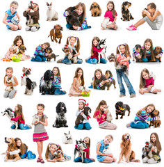 photo collage of a girl with  dog and rabbit