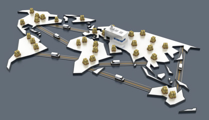 Logistics concepts, three dimensional rendering.