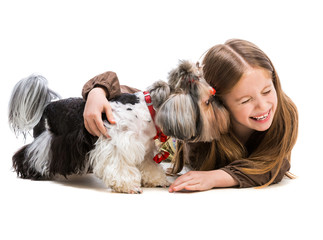 little girl is with her dog Yorkshire Terrier