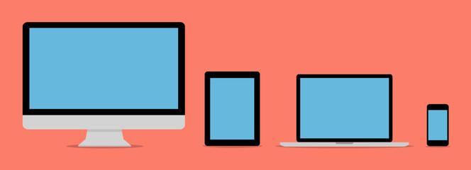 Flat design collection modern digital tech device