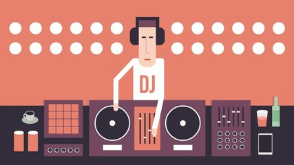 DJ and his equipment, dance music, flat design, red background