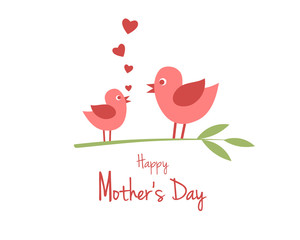 Mother's Day design with cute birds