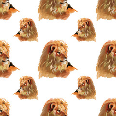 Watercolor lion seamless pattern