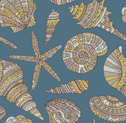 Vector seamless pattern with seashells.