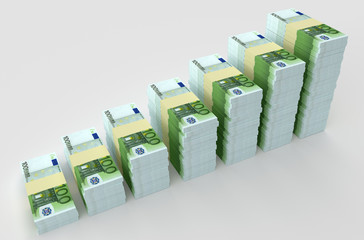 Many money euro banknotes