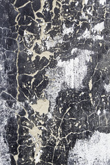 White and black wall damaged