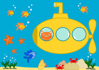Orange cat in a yellow submarine funny cartoon illustration