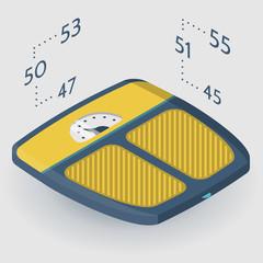 Isometric flat illustration of floor scales
