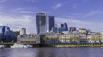 Timelapse view of the City of London Skyline from South bank