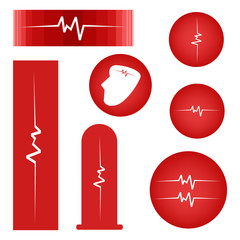 Set of Cardiogram on Red Banner