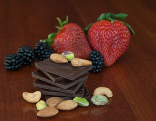 Chocolate, nuts and berries