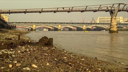 Bank of the River Thames under the Millennium Bridge