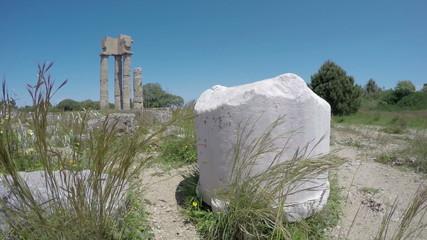 Rhodes  historical Apollo temple ruins columns, Time-lapse 4K